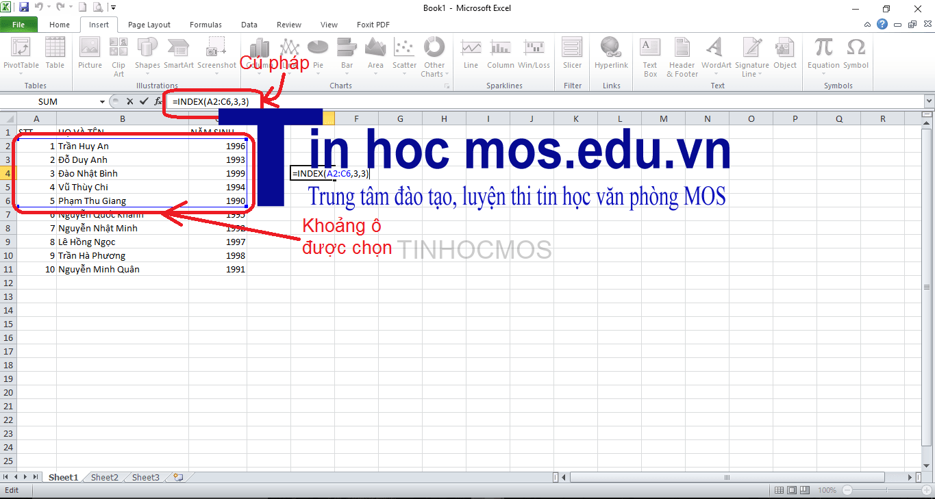 dung ham index trong excel