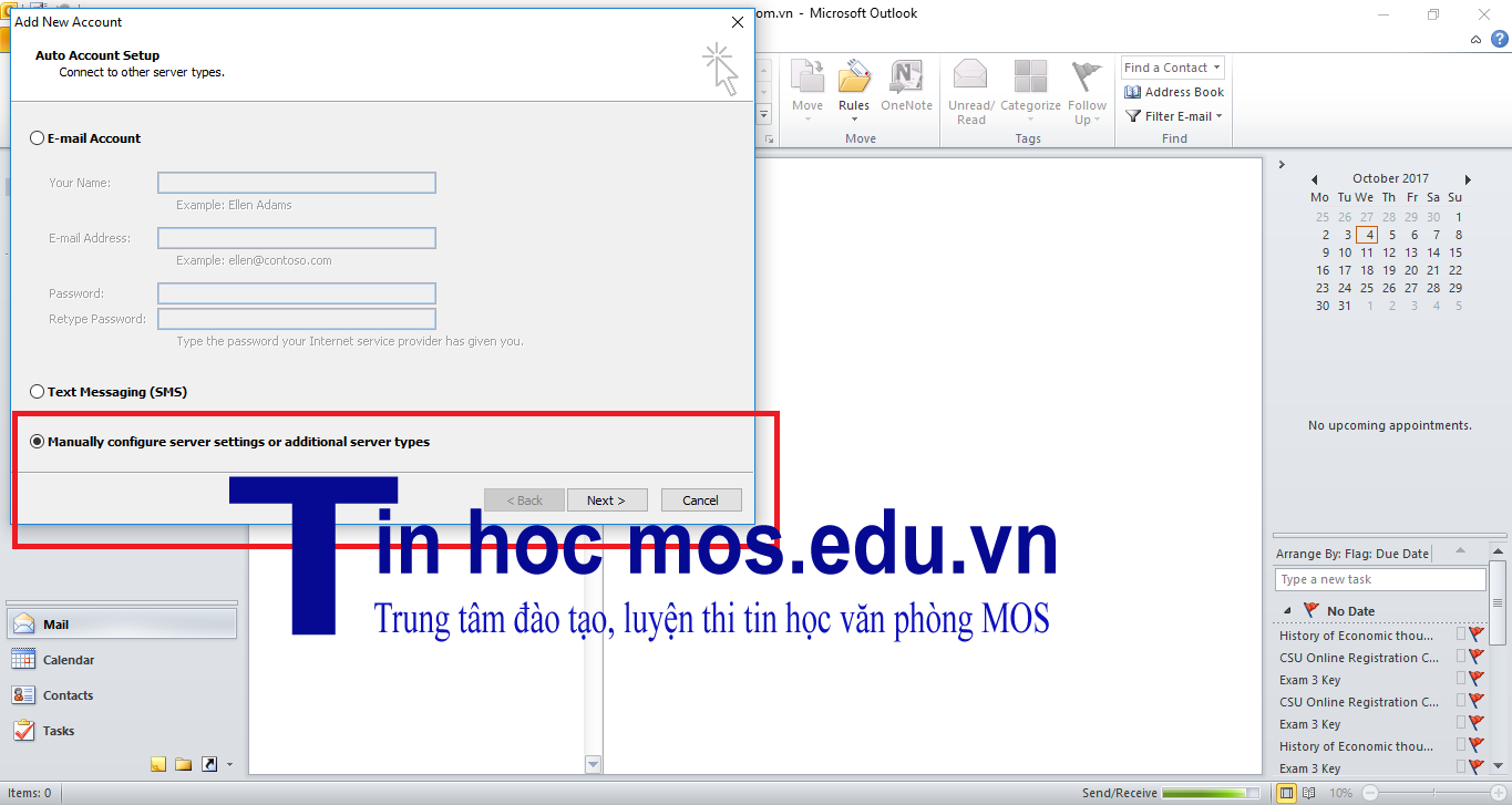 them tai khoan email vao outlook