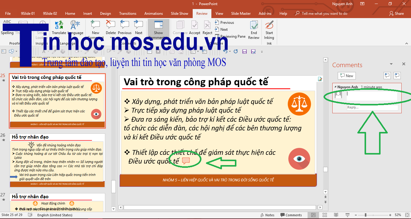 Tạo xoá comment PowerPoint